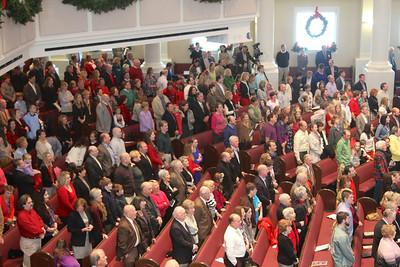 Congregation singing carols