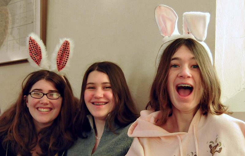 zoe johnson,lauren edmonds, maia maida in church on Easter.