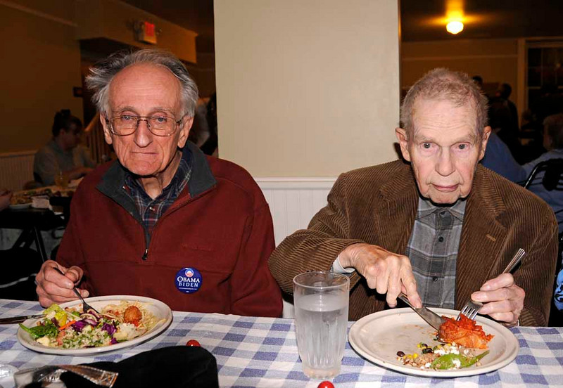 Frank Kendrick and Clinton Hobbs at the election night dinner at church.