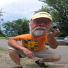 Bobblehead Brad - photo distorted by a Harley air cleaner cover.