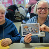 Promoting pledges during coffee hour.  Sandy Eaglen and Marion Yeagler.