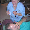 Joel in deep pain just after Marion removed the central portion of his unabrow eyebrow with hot wax.  At least Marion enjoyed the experience.