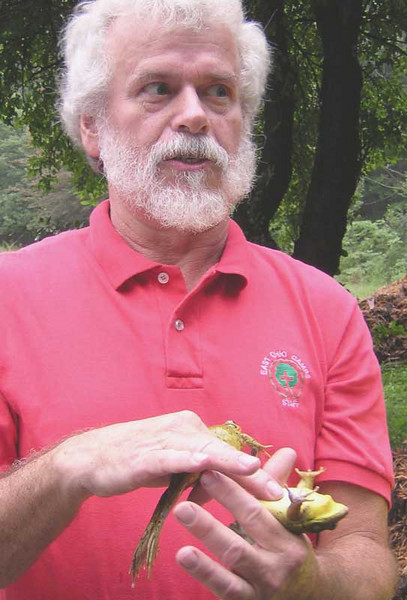 Ron Ettling hypnotizes a green frog