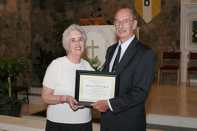 June and Brian Lynch were recognized during the 40th anniversary Mass as the longest serving parishioners at St. Patrick Church.