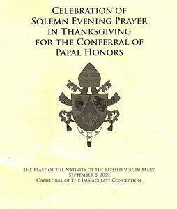 Monsignor Albert Kirk Papal Honors 9/8/2009