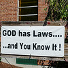 "A sign reading ""God has Laws...and you know it!"" replaces the previous sign that read ""Marriage is 1 man + 1 woman ... and you know it!"" that was vandalized overnight at Faith Christian Church in Fitchburg. SENTINEL & ENTERPRISE / Ashley Green"