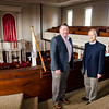 Standing Committee Chairman Mark Knop and Rev. Robert Johansen inside the First Church of Christ Unitarian in Lancaster, which is celebrating it's 200th year. The church was founded in 1816. SENTINEL & ENTERPRISE / Ashley Green
