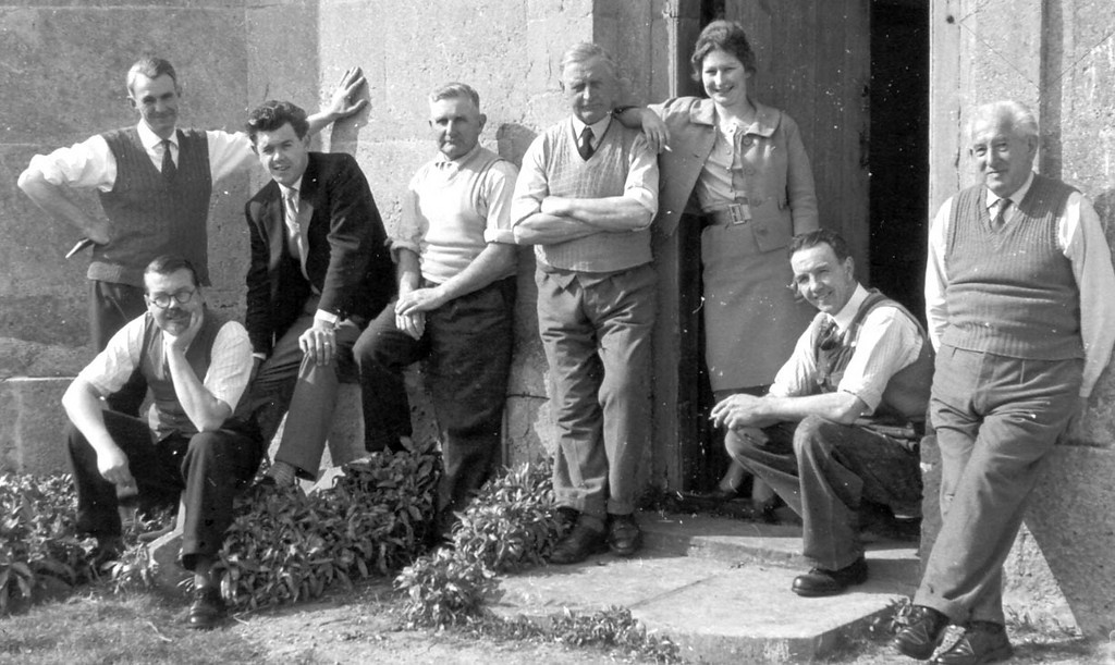 <center><font size=3><u> - St Helen's Bell Ringers in the 1960's - </u></font> (BS0703)  In the 1960s the tradition of bell ringing in the village started young, and continued throughout working lives. Shown here from L to R, Jim Godman (standing), Stan Pether (seated), Bob Cherrill, Tom Selwood, Dick Wells, Margaret Keable, John Cherrill (seated) and Charlie Douglas