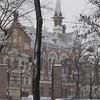 "Gates to Odessa ""Gorsad"" city park in the snow - corner of Pastera and Soviet Army St. - EPCO Presbyterian Church -"