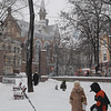 "Kids playing in the snow in the ""Gorsad"" city park across from our church on Pastera Street - Evangelical Reformed Presbyterian Church of Odessa"