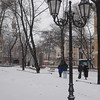"Gates to Odessa ""Gorsad"" city park in the snow - corner of Pastera and Soviet Army St. - EPCO Presbyterian Church - lamp post in snow"