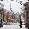 Entrance to City Park in the snow -  our church on Pastera Street - Evangelical Reformed Presbyterian Church of Odessa