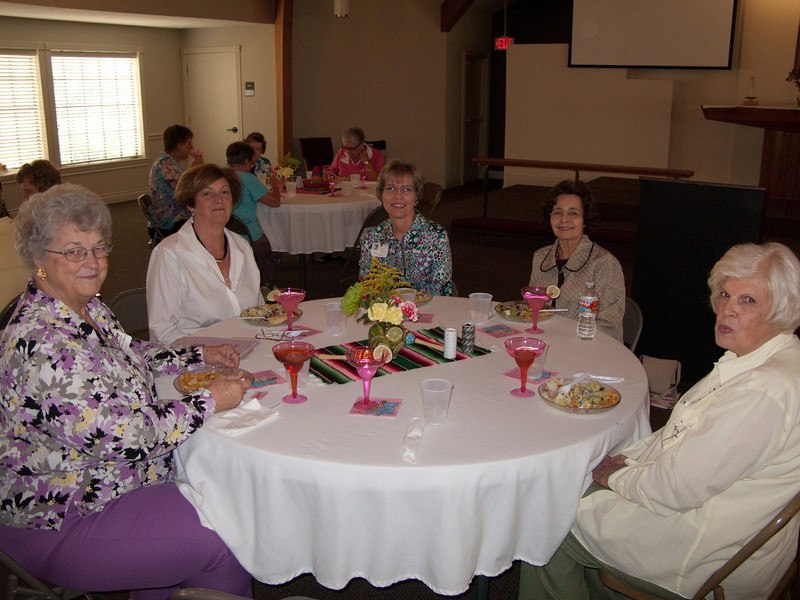 """far left - Dorothy Shepmann - her son is Rev. Dan Schepmann (PLI 2002). She is going to send him the FullValue and MTBY information.<br /> far right - Barbara Fraser, whose children were confirmed by """"Pastor Oesch""""<br /> between Diane and Barbara is RosaLee Robinson, who invited Diane to speak. Both Dorothy & RosaLee were at the Real Joy conference last October<br /> The church is Fishers of Men in Sugarland, TX , Bayou City LWML Zone Rally, May 1, 2010"""