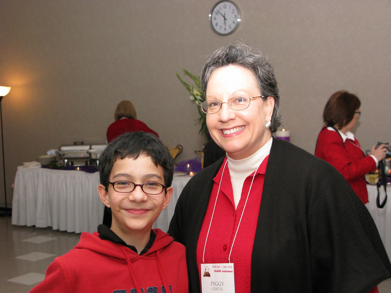 Peggy and the youngest volunteer, her son.