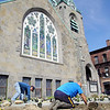First Church Leominster Unitaran Universalist is creating a labyrinth on the West Street side of the church for all to enjoy. Labyrinth designer Joe Godwin, on left and Ron Brown work on the labyrinth and the surrounding area on Tuesday. SENTINEL & ENTERPRISE/JOHN LOVE