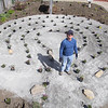 First Church Leominster Unitaran Universalist is creating a labyrinth on the West Street side of the church for all to enjoy. Labyrinth designer Joe Godwin, from Saint Johnsbury VT, works on the labyrinth on Tuesday. SENTINEL & ENTERPRISE/JOHN LOVE