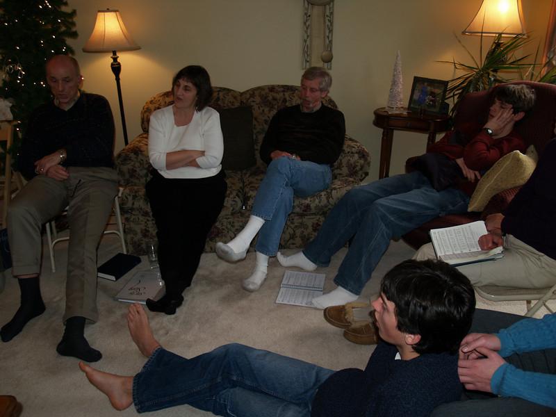 Advent hymn-sing in Joy's home