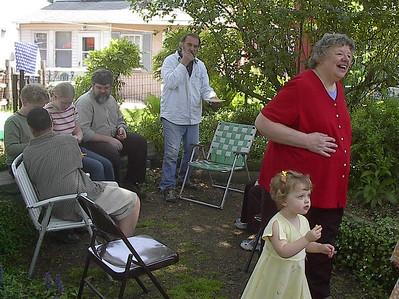 Yoders, Bergins & Art & Hilda in their backyard