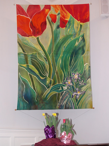 """Tulips and Pushkinia"" © Anna Lisa Yoder 1994.  Batik painted process on muslin. (6 X 8 ft.)"