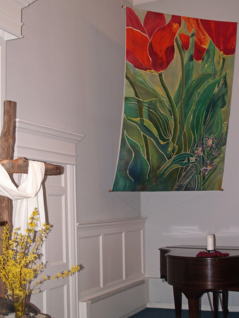 """Tulip & Pushkinia"" batik in meetingroom, Easter-- Perkasie Mennonite Church ""Tulips and Pushkinia"" © Anna Lisa Yoder 1994.  Batik painted process on muslin. (6 X 8 ft.)"