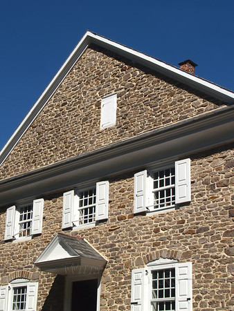 Side view of Buckingham Friends Meeting, in Bucks County PA; 1768 field stone building