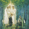 The Prophet Joseph Smith, Jr. kneeling on the  banks of the Susquehanna River in may or June of 1829.  The New Testament-era Apostles Peter, James and John (dressed in white) are standing by Joseph.  The apostles have their hands upon Joseph''s head as they confer the Melchizedek Priesthood upon him.  Oliver Cowdery is kneeling by Joseph.  There are trees in the foreground and background.