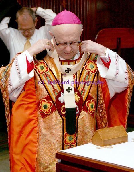E.L. Hubbard for The Telegraph<br /> The Archbishop vested