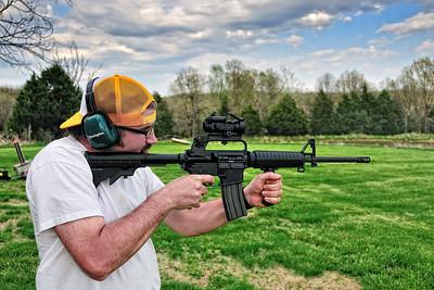 Tim shooting the AR-15.