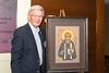 Bob Labat with Saint Junipero Serra Icon Painting