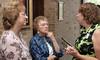 Carolyn Simoneaux, Annette Schmidt, and Marie Baert chat before Mass