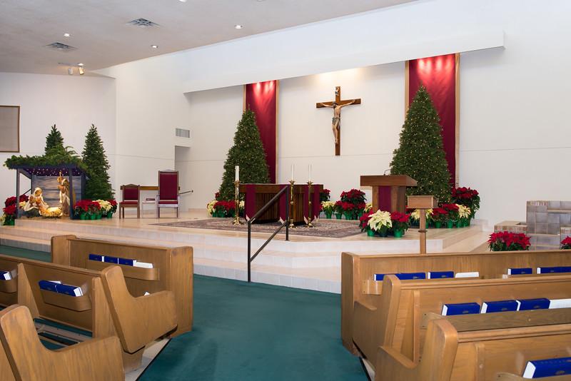 Church Sanctuary Altar, Crèche, Ambo, Baptismal Fount