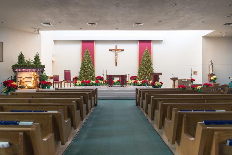 Church Sanctuary Facing Altar, Lights Out