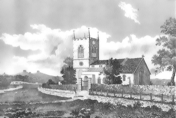 <font size=3><u> - St Helen's Church - </u></font> (BS0465)   A view of St Helen's Church drawn by William Willis in 1830.  Note the absence of anything other than a track between the Thames and the Church.  The path in the foreground led to Preston Crowmarsh and Wallingford.