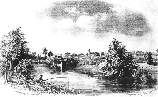 <font size=3><u> - View of St Helen's Church and the River - </u></font> (BS0464)   1830s engraving by the brothers George and William Willis.  See also their engraving at BS0465.