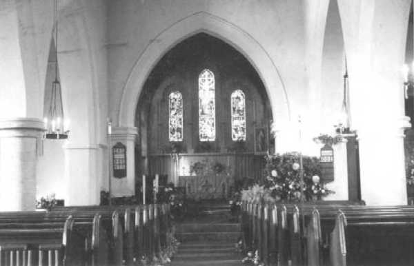 <font size=3><u> - Village Church Interior - </u></font> (BS0013)  Before post-war rebuild.  Date of photo unidentified.
