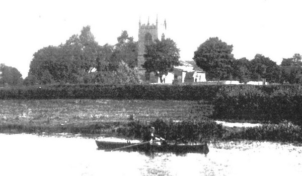 <center><font size=3><u> - St Helen's Church from River - </u></font> (BS0300)   Very early photo - possibly by Henry W Taunt in the late 19th century.  </center>