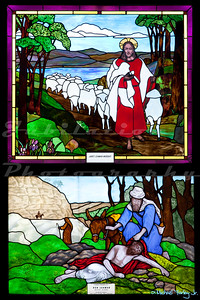 "Saint John's Episcopal Church, Marysville, CA.  This window is from the ""Ghirardelli Hall""section of the church.  Apparently, same same guy who invented the chocolate was also a pastor her, and his daughter continued to fund the church."