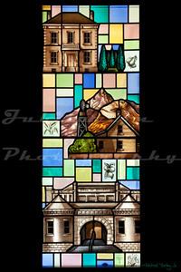Saint John's Episcopal Church, Marysville, CA.  This window depicts early scenes from Marysville.