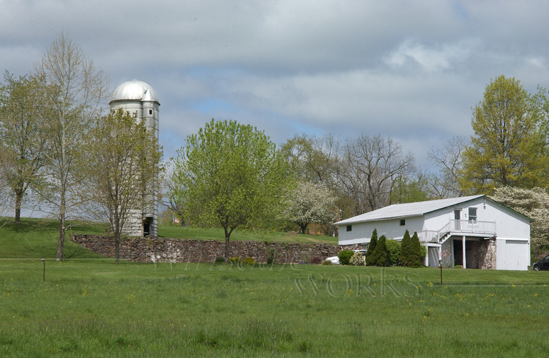 Old silo, etc. at Ruth homestead in Salford; seen from creek