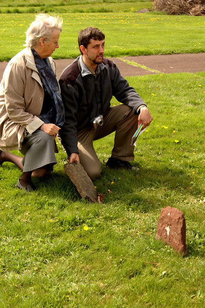 Visiting Salford Mennonite Church cemetery - an Alderfer & an Altdorfer with an old family grave marker