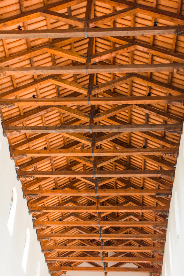 wood celign in church. Ravello, Italy