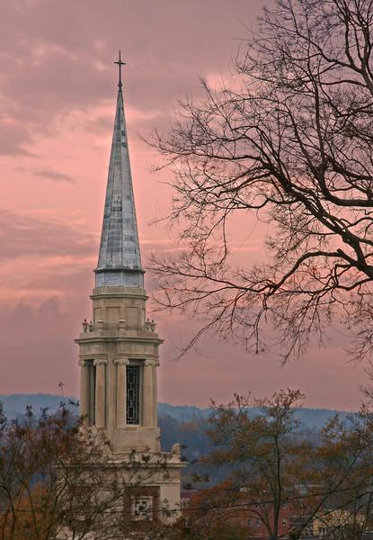 Wintry Church Spire - First Baptist Church, Rome, GA.