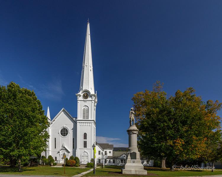 Congregatgtional Church & Village War Memorial - Manchester, VT