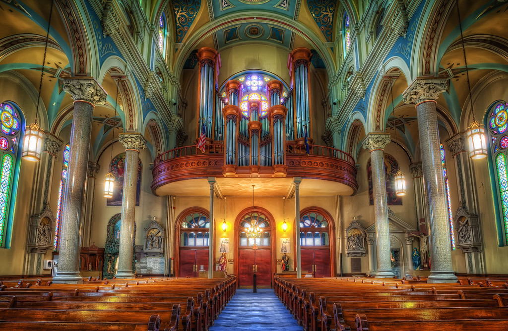 Old St. Mary's church in the Greektown section of Detroit.