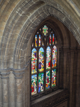 A view of the West window from higher up in the South West transept.