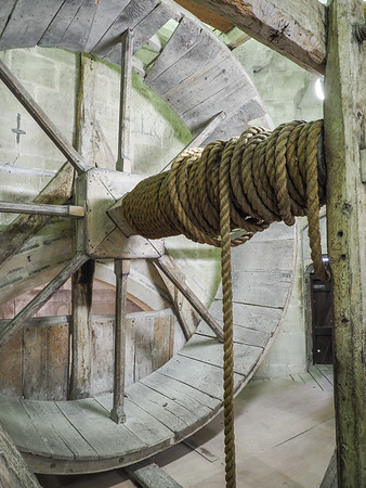 This pulley was used originally used to bring building material up to the top of the tower.