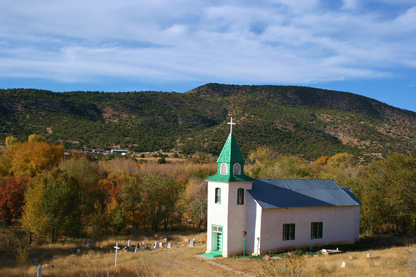 San Patricio church in New Mexico, Autumn colors.