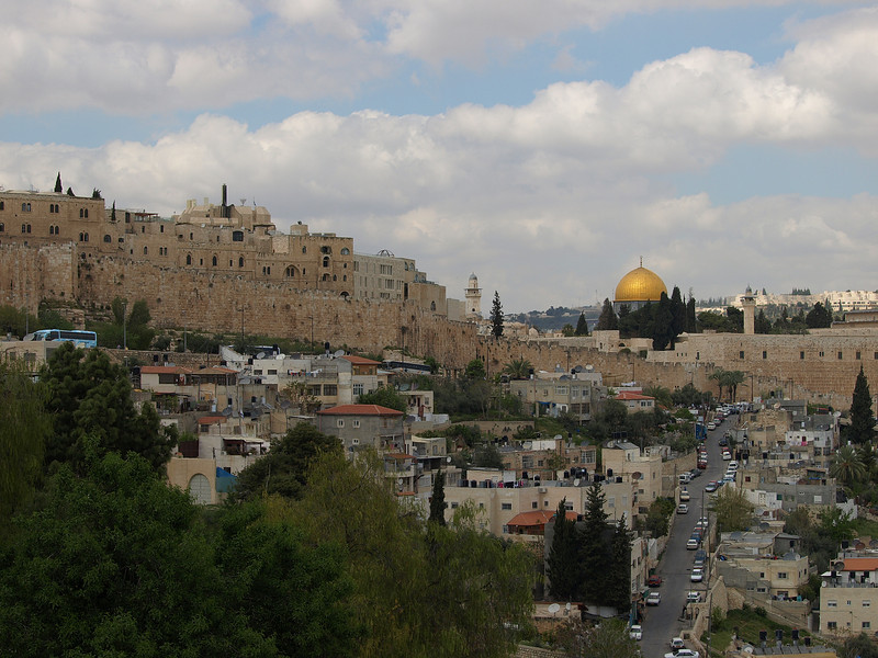 Old City:  Armenian and Jewish Quarters (upper left) and Dome of the Rock viewed from the grounds of St. Peter church