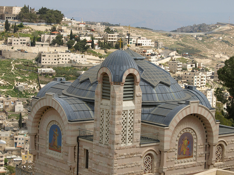 The church and the Arab village of Silwan in the background