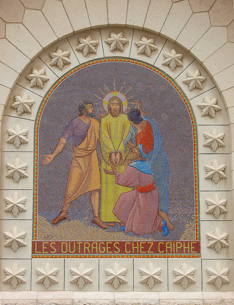 Exterior mosaic, St. Peter church; in French as the church belongs to a French religious order.